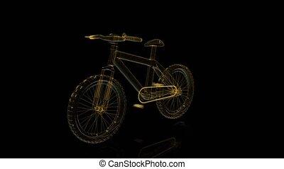 visualisation, vélo, loop., wireframe, seamless, tourner,...
