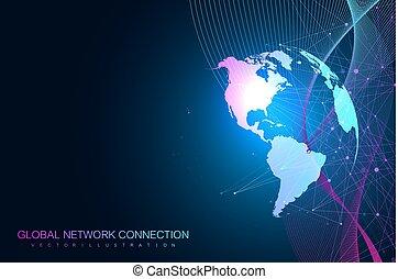 visualização, illustration., tecnológico, grande, abstratos, global, dinâmico, connection., rede, vetorial, fundo, sentido, mundo, dados, waves., globe.
