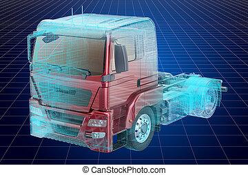 visualización, 3d, canalla, modelo, de, camión, blueprint.,...