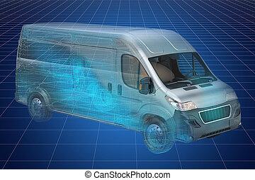 visualización, 3d, canalla, modelo, de, camionetade departo,...