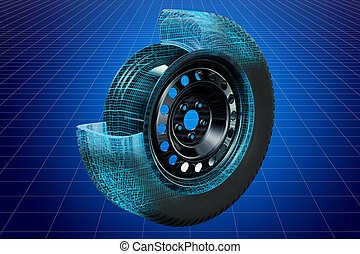 visualización, 3d, canalla, modelo, de, rueda de coche,...