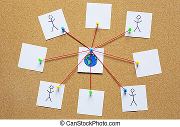 visualización, red,  global, corcho, tabla, boletín