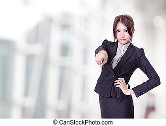 visualizador, mulher aponta, negócio, dedo