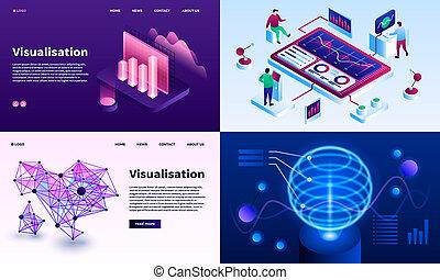 Visualization banner set, isometric style