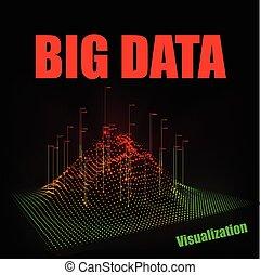 visualization., cielna, abstrakcyjny, dane, wektor, tło, technologia, 3d