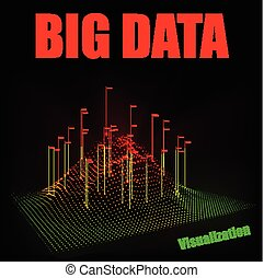 visualization., cielna, abstrakcyjny, wektor, dane, 3d
