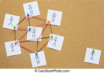 Visualization of a single person not fitting into the group