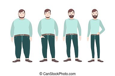 Visualization of weight loss stages of male cartoon character, from fat to slim. Concept of body changing through diet, healthy nutrition and sports. Vector illustration.