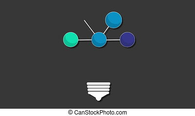 Visualization shape a light bulb, vector animation