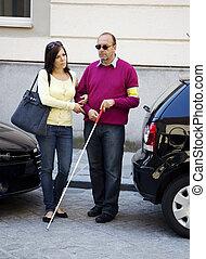 visualmente, mulher, cego, homem, prejudicado