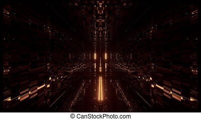visuals vj loop 3d illustration motion background live wallpaper of beautiful futuristic science-fiction tunnel corridor with cool reflections, endless 3d rendering space hangar with glass bottom graphic artwork endless visual loop