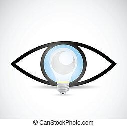 visueel, idea., gloeilamp, concept, illustratie