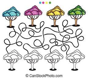 visueel, raadsel, en, kleuren, pagina