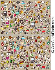 visueel, verschillen, spel, iconen