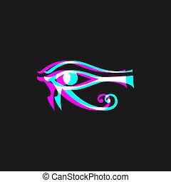 visuel, égyptien, effet, icône