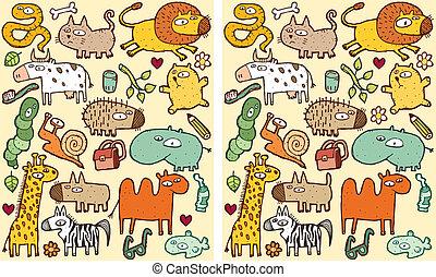 visuel, différences, animaux, jeu