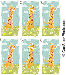 visuel, girafe, jeu, heureux