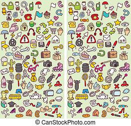 visuell, skillnader, lek, ikonen