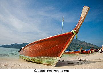 visutý ohledat, o, překrásný, pláž