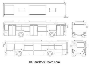 vit, above., stad, främre del, design, annonsering, buss, sida, mall, tom, identitet, isolerat, passenger, baksida, skissera, synhåll, transport., bakgrund., förgrena