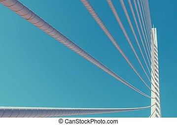 vit, abstrakt, bro, struktur, på, sky