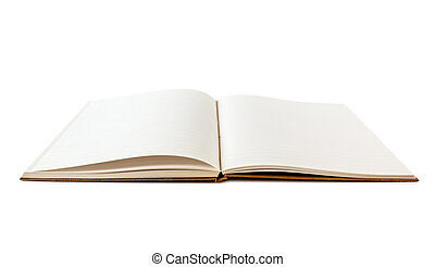 vit, anteckningsbok, öppna, isolerat, tom