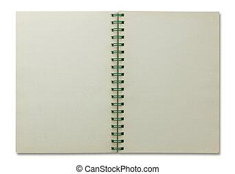 vit, anteckningsbok, öppna, spiral, isolerat