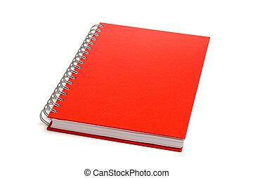 vit, anteckningsbok, isolerat, röd