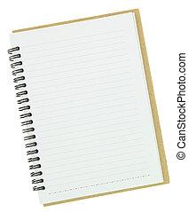 vit, anteckningsbok, isolerat, tom