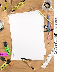 vit, avskrift, ark, utrymme