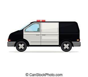 vit, bakgrund., polis, illustration, nymodig, van., vektor