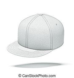 vit, baseboll hatt