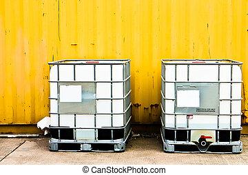 vit, behållare, och, gul, frakt