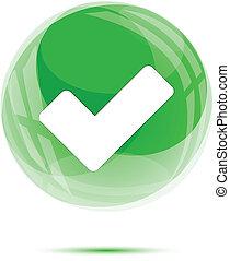 vit, bock markera, in, den, grön, glas, glob