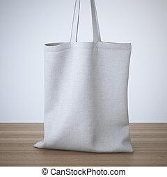 vit, bomull, väska, på bordet