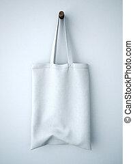 vit, bomull, väska