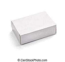 vit, boxas, tom, behållare