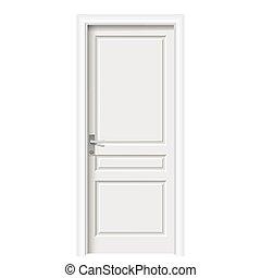 vit, dörr, rum, stängd
