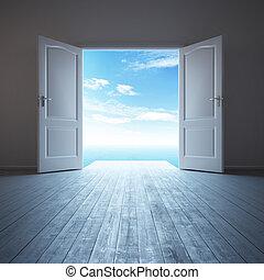 vit, dörr, rum, tom, öppnat
