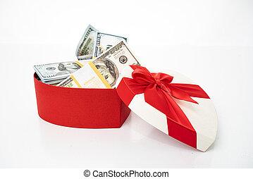 vit, dollars, knippe, gåva, hjärta, bog, boxas, isolerat