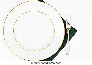vit, empry, tallrik, på, a, bordduk, med, plats, för, din, text