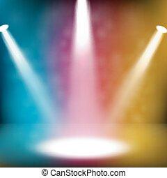 vit, färgrik, spotlight, lysande
