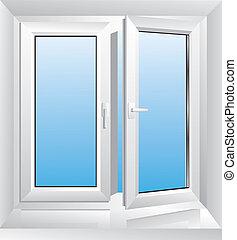 vit, fönster, plastisk