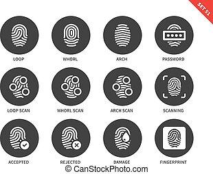 vit, fingeravtryck, bakgrund, ikonen
