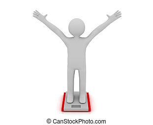vit, folk, med, idealisk, vikt, och, scale., återgäldat, illustration