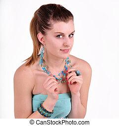 vit fond, jewelry., flicka, vacker