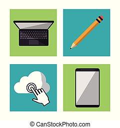vit fond, med, laptopdator, blyertspenna, och, moln, och, kompress, in, fyrkant, inramar