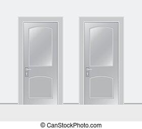 vit fond, två, dörrar