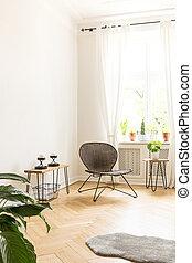 vit fond, vägg, med, tomt utrymme, in, a, hög, innertak, rum, inre, med, a, rotting, och, metall stol, in, den, hörna, och, sida tabell, med, vaxljus, och, planterar, på, a, trä, herringbone, flooring., verklig, foto
