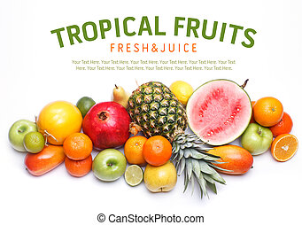 vit, frukter, text., bakgrund, utrymme